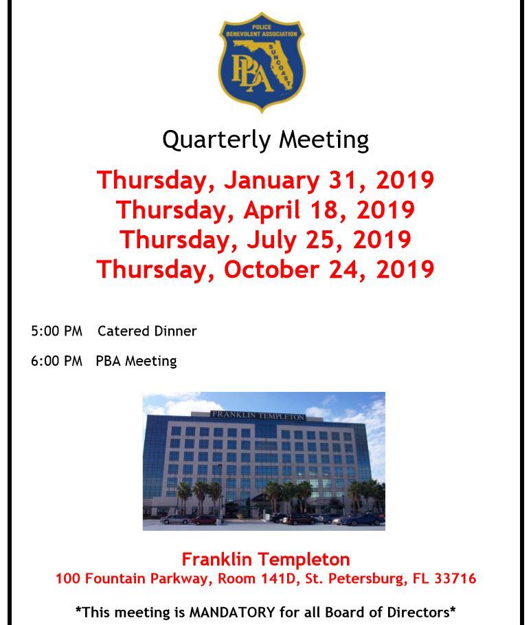 2019 PBA Quarterly Meetings
